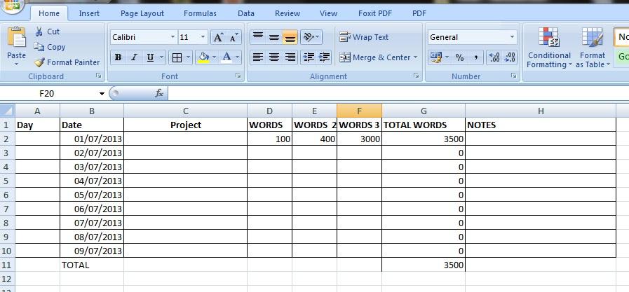 Writing Spreadsheet